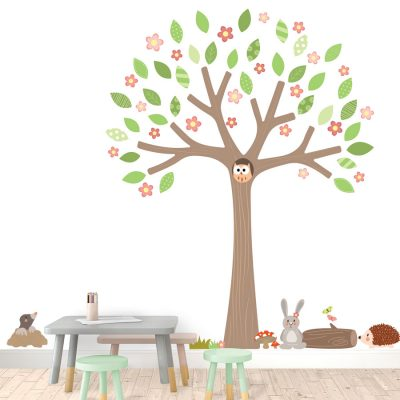 Woodland Tree with blossom and woodland critters wall stickers | Woodland Friends | Stickerscape | UK