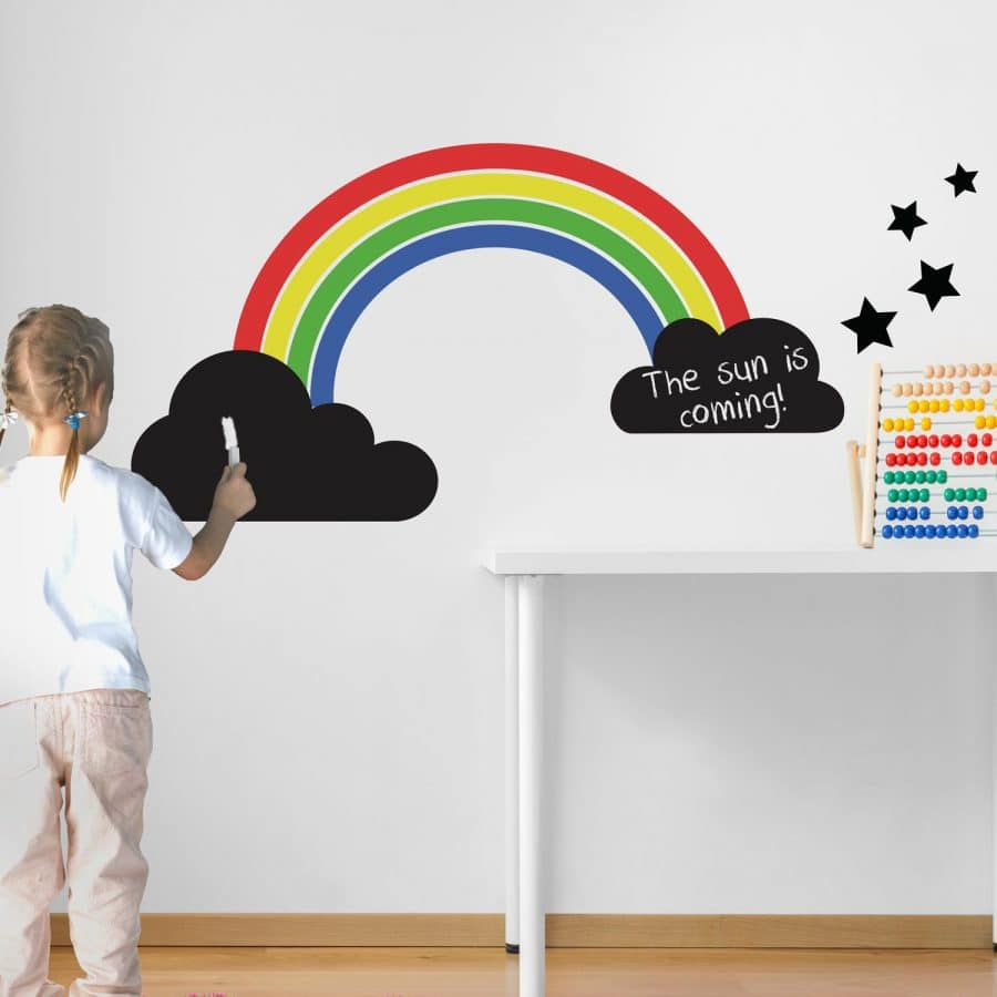 bright coloured rainbow chalkboard wall sticker with chalk clouds