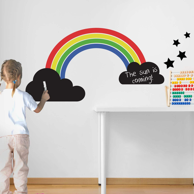 Rainbow Wall Stickers Uk Rainbow And Chalkboard Clouds Wall Sticker Set
