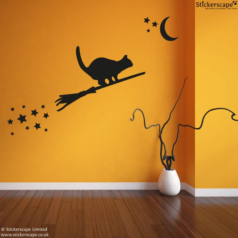 Cat on a broomstick wall sticker | Halloween wall stickers | Stickerscape | UK