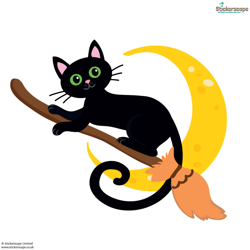 Cat on a broomstick window sticker (White background) | Halloween window stickers | Stickerscape | UK