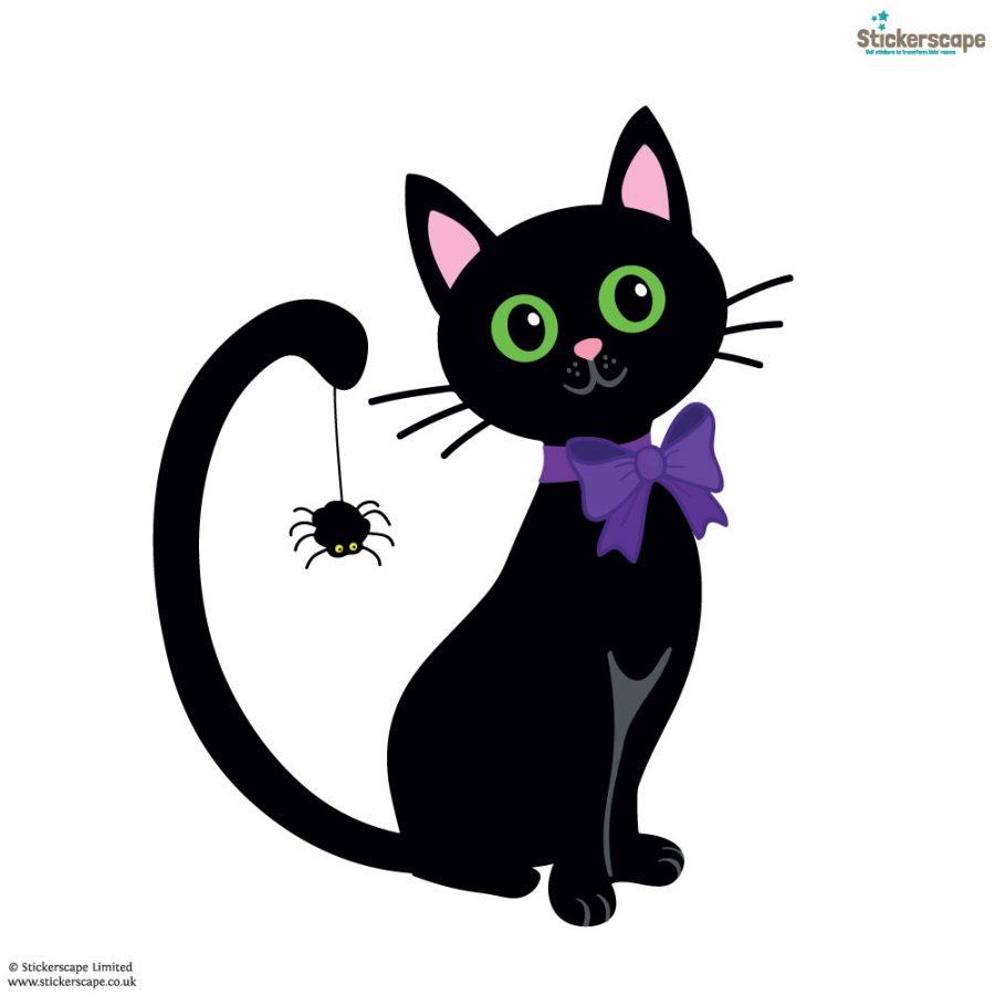 Cat with spider window sticker (White background) | Halloween window stickers | Stickerscape | UK