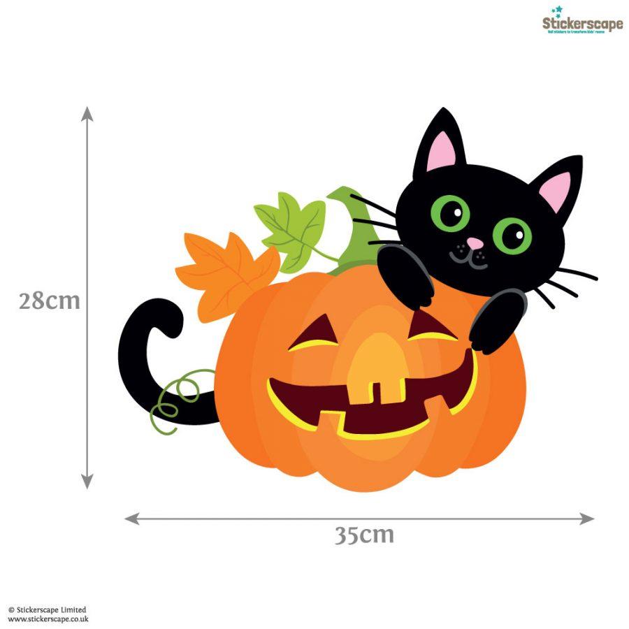 Cat with pumpkin window sticker (Dimensions)   Halloween window stickers  