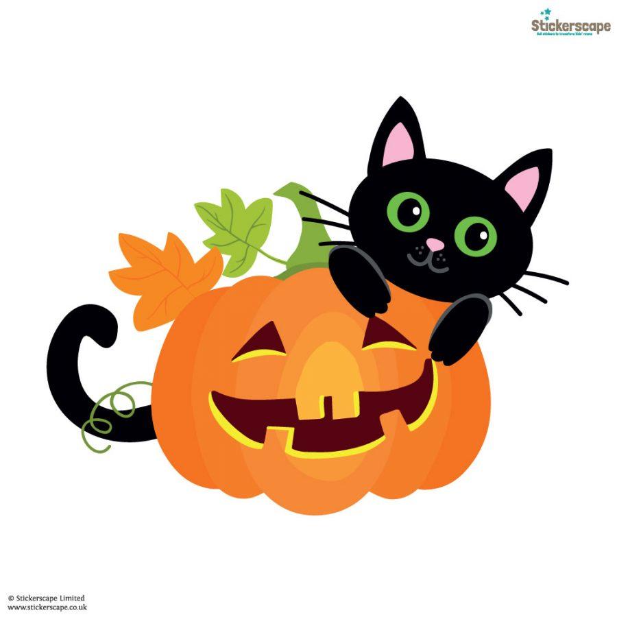Cat with pumpkin window sticker (White background)   Halloween window stickers  