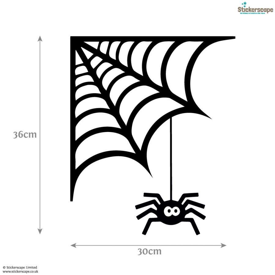 Spider cobweb window sticker   Halloween window stickers (Dimensions)   Stickerscape   UK