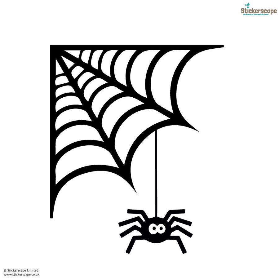 Spider cobweb window sticker   Halloween window stickers (White background)   Stickerscape   UK