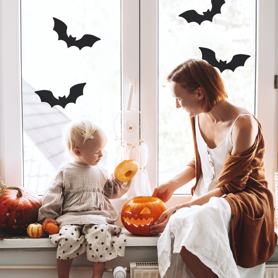 Bat window sticker pack (Option 2) is a perfect way to decorate your home with a Halloween theme