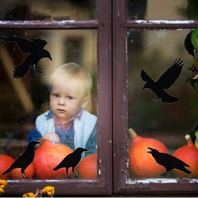 Crow window sticker pack perfect for decorating your home this October for Halloween
