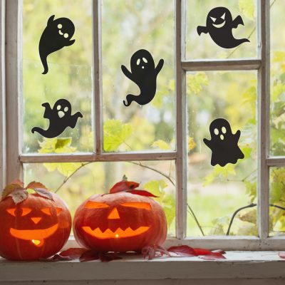 Ghost silhouette window stickers | Halloween window stickers perfect for decorating your windows this Halloween with a spooky fun theme