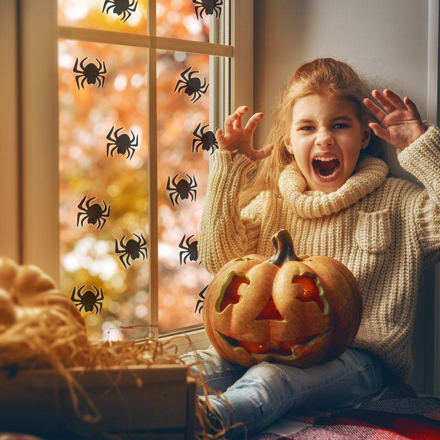 Spider window stickers perfect for decorating your windows with a scary Halloween theme perfect for children and playrooms