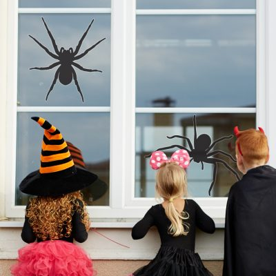 Large spider window sticker features two large spider window stickers in different poses and are perfect for decorating your home this Halloween