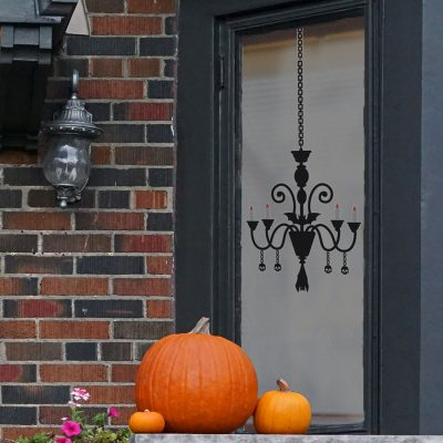Chandelier window sticker (Regular size) features a gothic chandelier with candles, skulls and a bat and is perfect for decorating your windows with this Halloween