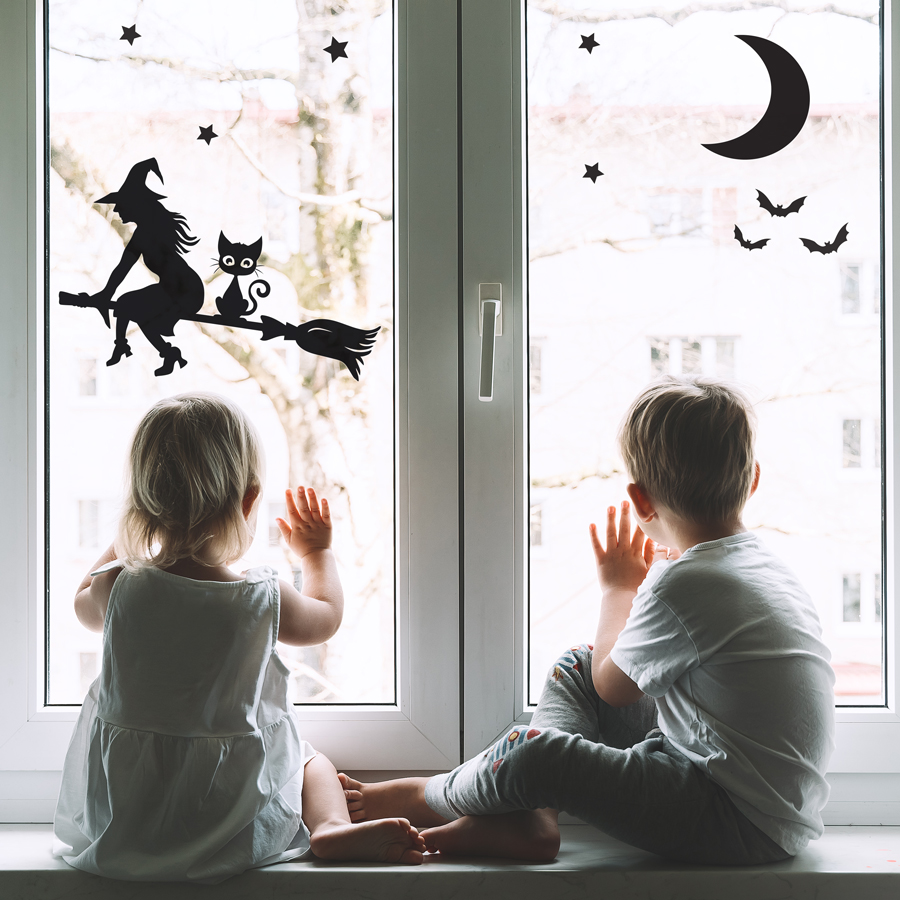 Witch and cat on a broomstick window sticker pack available in two sizes perfect for decorating your windows this Halloween