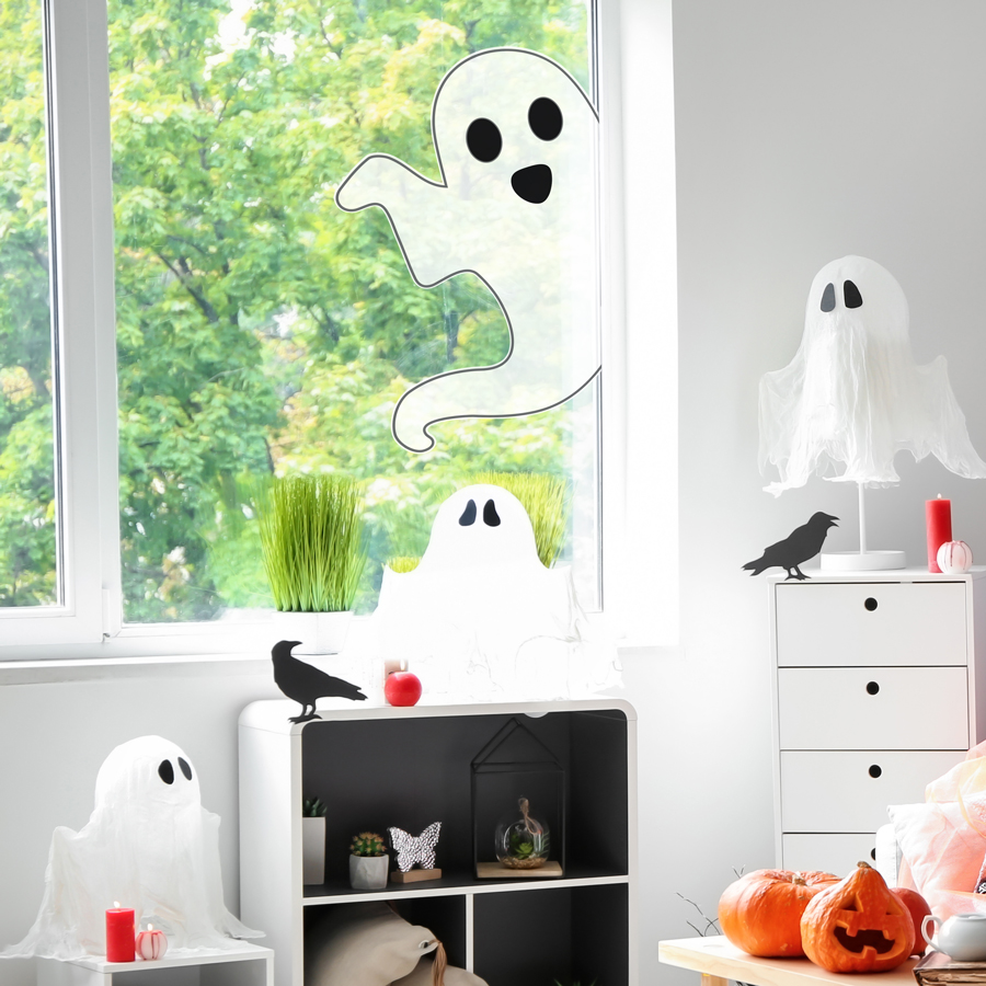 Single ghost window sticker pack (Large size) is a great fun way to add a fun Halloween theme to your window this Halloween