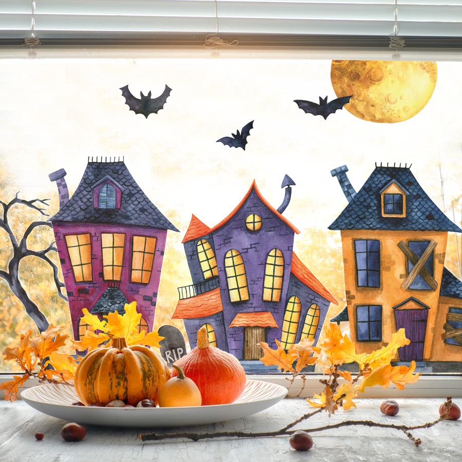Haunted village window stickers (Regular size) featured haunted houses, bats and much more - perfect for adding a Halloween theme to your windows this October
