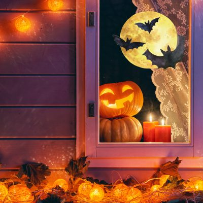 Bat and moon window sticker (Regular size) features a full moon with three bats perfect for adding a Halloween window theme to your home this October