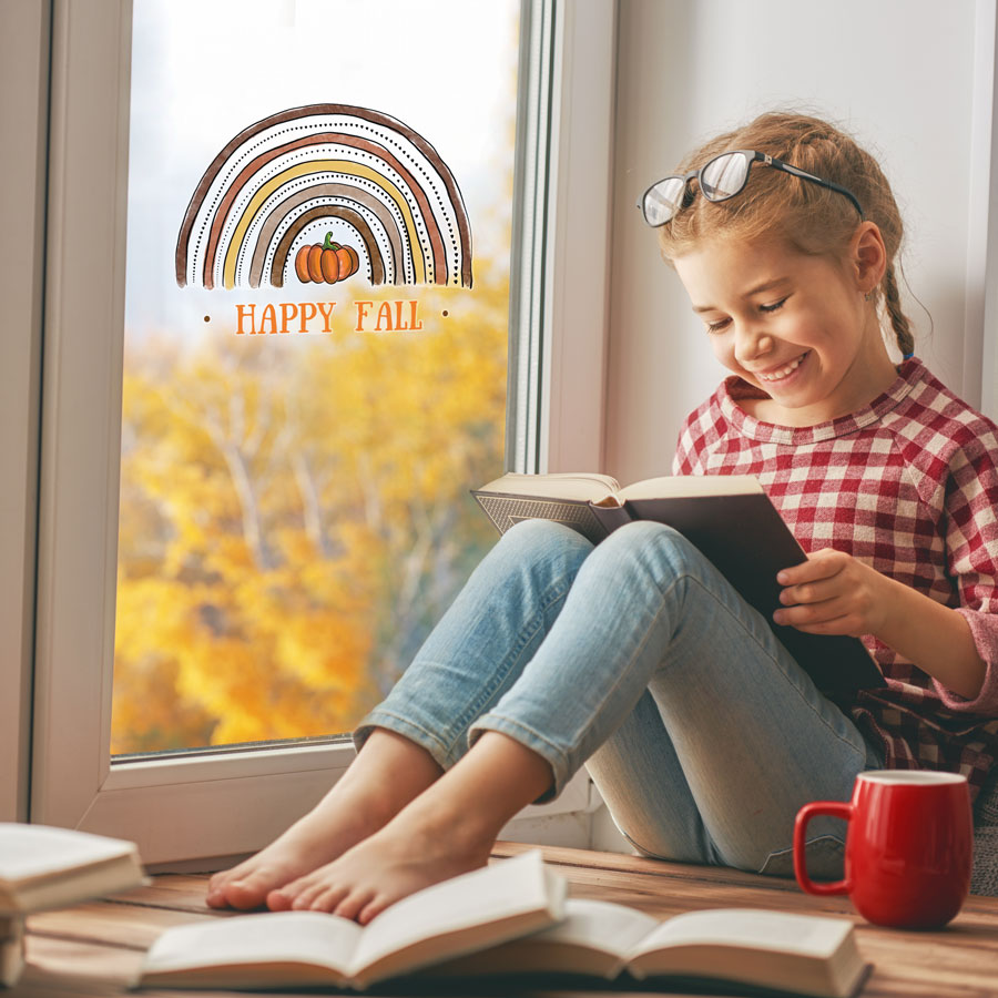 Autumn rainbow window sticker (Standard - Happy Fall) perfect for decorating your windows this Halloween
