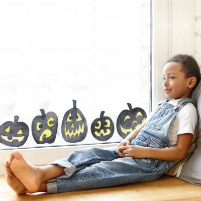 Pumpkin window stickers features 7 pumpkin window stickers in total and are perfect for decorating your home this Halloween