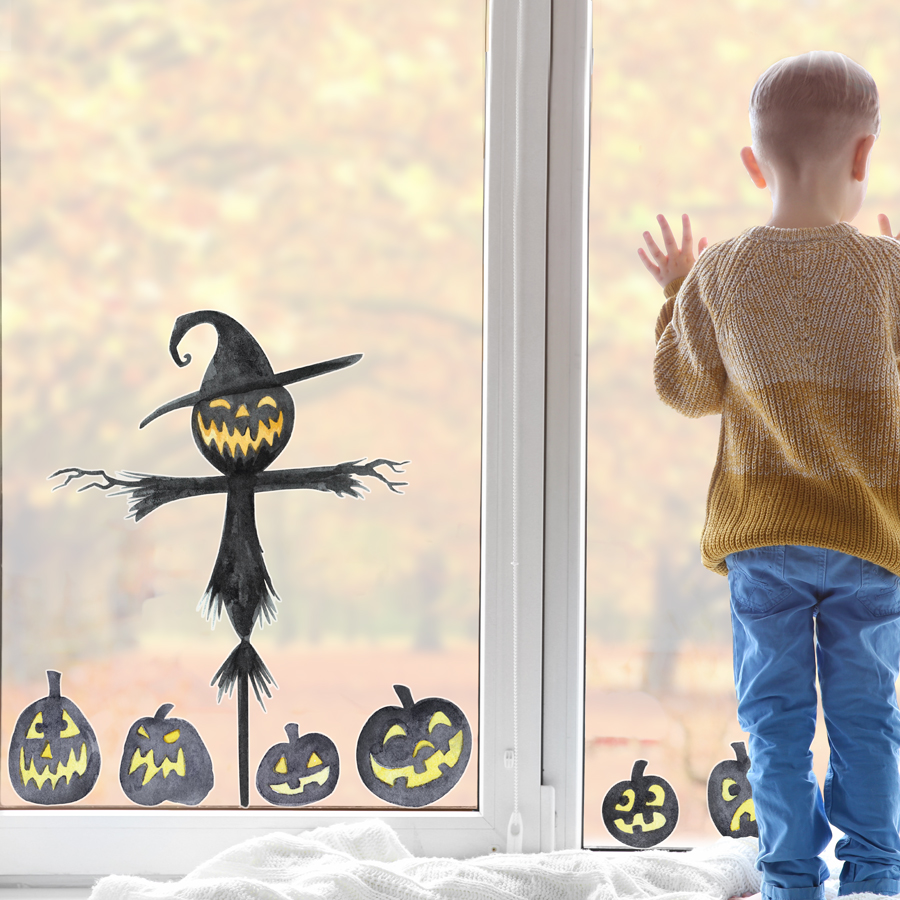 Scarecrow and pumpkin windows stickers features a scary scarecrow and creepy pumpkins and is perfect for decorating your home this Halloween