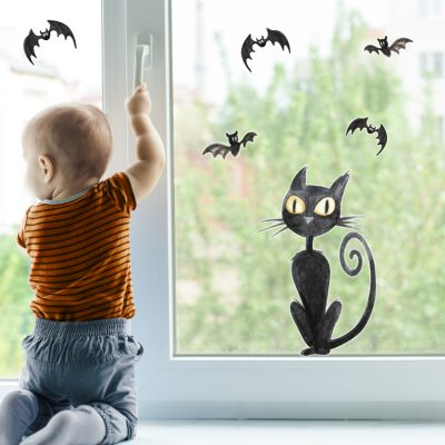 Watercolour cat and bats window sticker pack features a cat with five bat window stickers perfect for decorating your children's rooms for Halloween