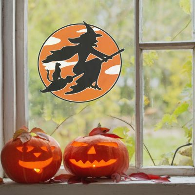 Flying witch and cat window sticker (Regular size) is available in two sizes and is a perfect window decorating this Halloween