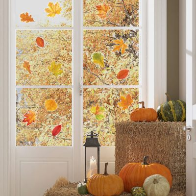 Autumnal leaves window stickers perfect for giving your windows an Autumnal theme this Halloween
