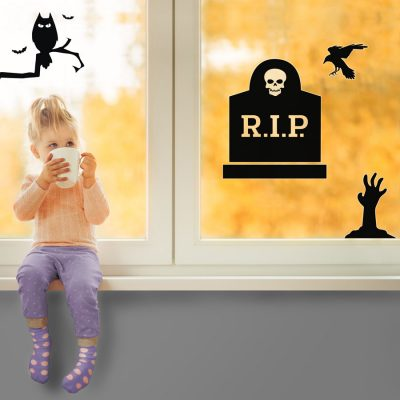 Halloween graveyard window sticker pack is a great way to add a scary Halloween theme to your windows this October