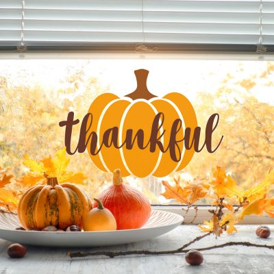 Thankful pumpkin window sticker (Option 1 - Standard) is a perfect way to decorate your home this Halloween with a fun colourful pumpkin window sticker