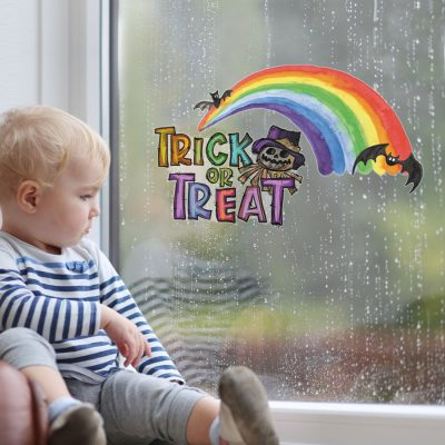 Rainbow trick or treat window sticker (Regular size) perfect for decorating your windows with this Halloween
