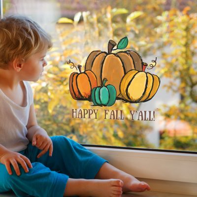 Watercolour pumpkin window sticker (Option 2 - Large size) is perfect for decorating your windows for autumn and Halloween in October