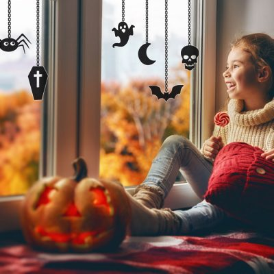 Halloween window stickers on chains are perfect for creating a Halloween theme for your windows this Halloween