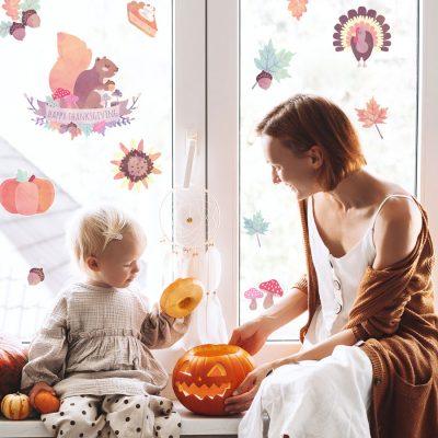Thanksgiving Window Stickaround Packs (Option 2), Autumn Window Stickers.