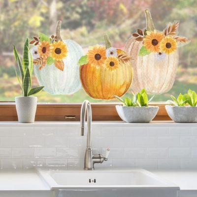 Floral Watercolour Pumpkins Window Sticker (Option 2 - Large) | Autumn Window Stickers | Stickerscape