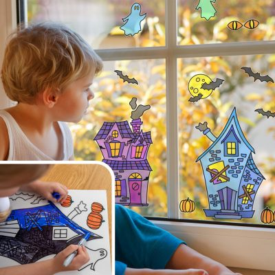 Haunted House Colour-in Window Sticker Pack   Halloween Window Stickers   Stickerscape