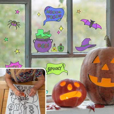 Spooky Witch Colour-in Window Sticker Pack   Halloween Window Stickers   Stickerscape