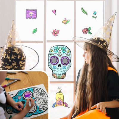 Day of the Dead Colour-in Window Stickers   Halloween Window Stickers   Stickerscape