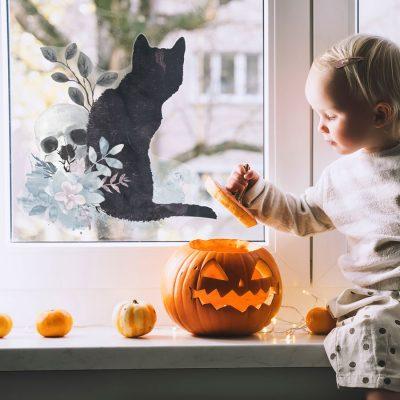 gothic watercolour window stickers - option 1, halloween window stickers.