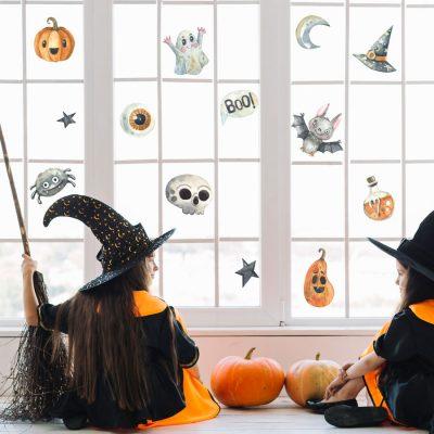 watercolour Halloween window stickers, halloween window stickers