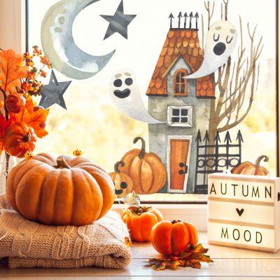 haunted house window sticker - large, halloween window stickers