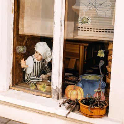 Spider Web and Cauldron Window Sticker, Halloween Window Stickers.