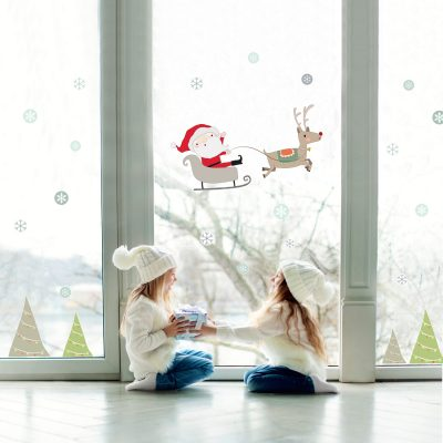 santa on his sleigh with reindeer and snowflakes window sticker perfect decoration for Christmas