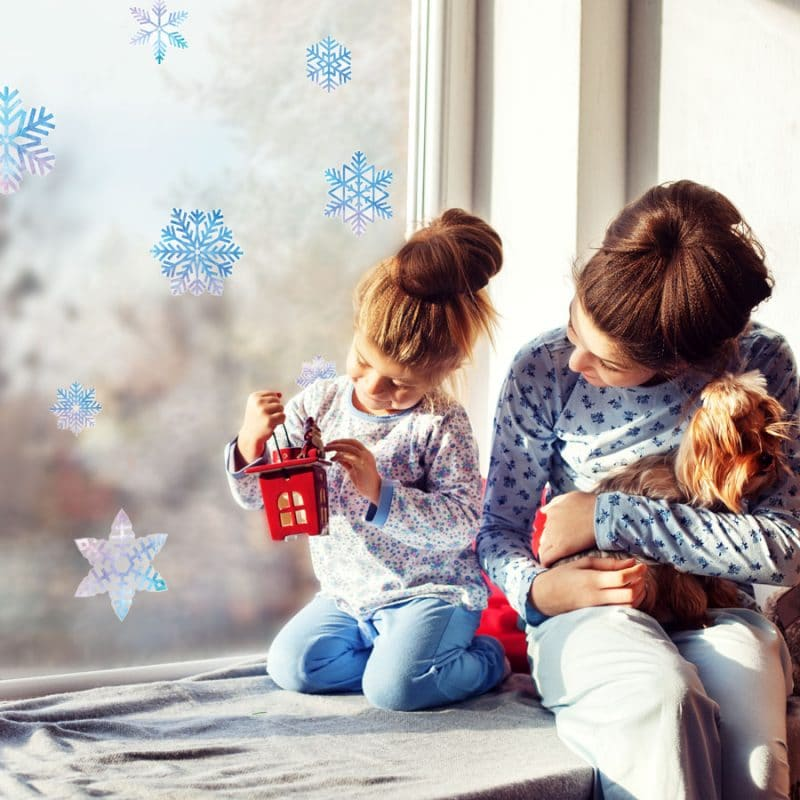 Christmas window stickers with watercolour snowflake window stickers (Option 1) perfect way to decorate your windows this Christmas