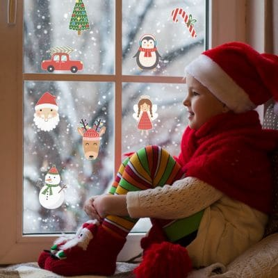 Christmas stickaround window stickers perfect for decorating your windows this Christmas featuring Santa, snowmen and Christmas trees
