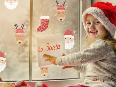 Santa, Rudolph and stocking windows stickers perfect for creating a Christmas themed room during the festive season