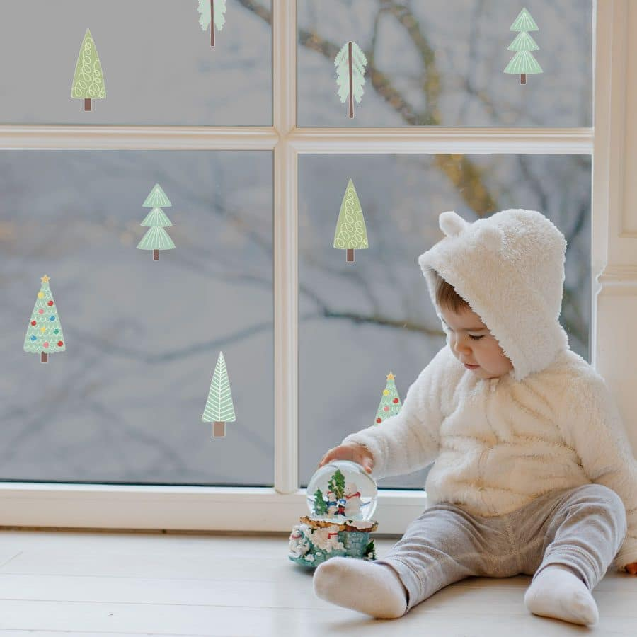 Christmas tree window stickers perfect for creating a festive theme in your childs bedroom