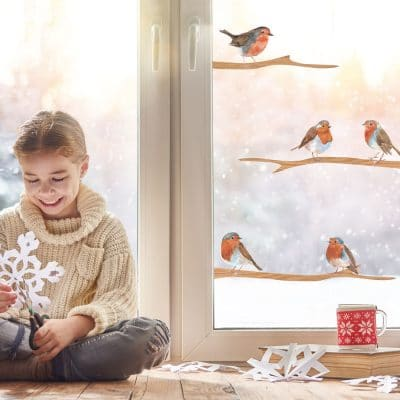 Christmas robins window stickers perfect for creating a festive scene and decorate your windows this Christmas