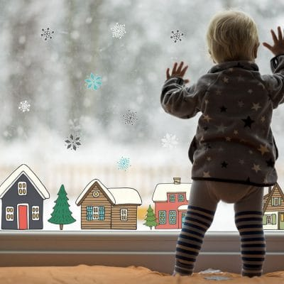Christmas village window stickers perfect for creating a Scandinavian Christmas theme on your windows this Christmas