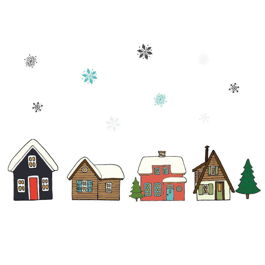 Christmas village window stickers on a white background