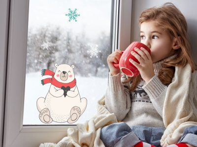 Polar bear with snowflakes window sticker perfect accessory for Christmas for your little ones windows