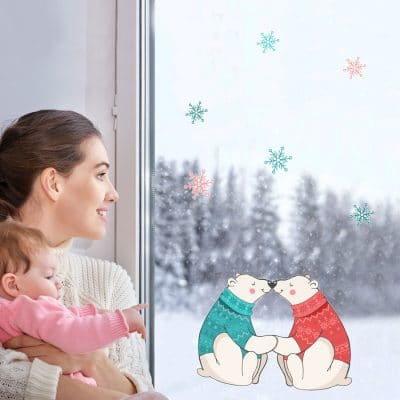 Polar bear kiss window sticker made by Stickerscape perfect for decorating your windows this festive season